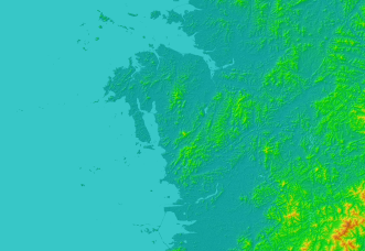 T'aean peninsula with hillshading applied